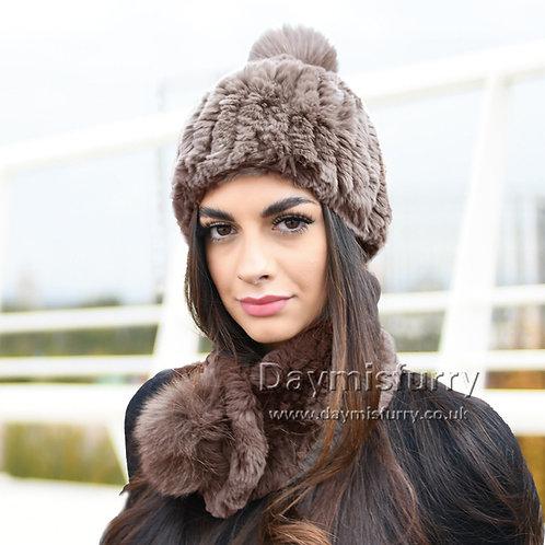 DMC94C Rex Rabbit Fur Beanie Fur Hat Fur Scarf  Set