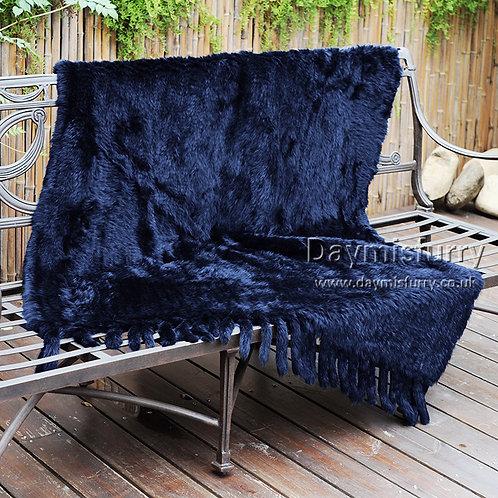 "DMD20K Knit Rabbit Fur Blanket Throw With Tassels 45""x 75"""