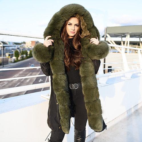 DMGP37A Rex Rabbit Fur Lined Parka Jacket With Fox Fur Trims & Hood, Winter Coat