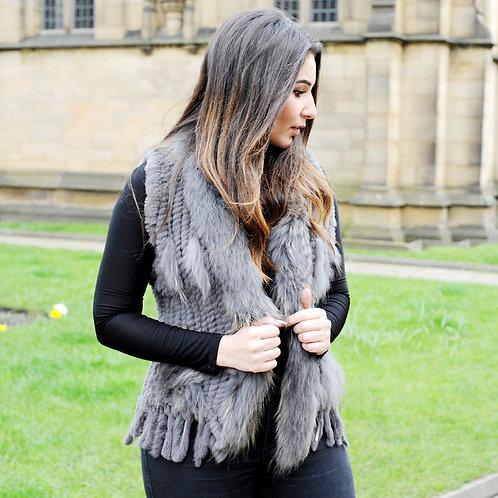 DMGB57E Knit Rabbit Tassle Vest with Raccoon Fur Trim