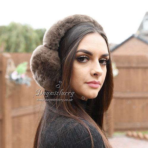 DMA40C Rex Rabbit Fur Ear Muffs Warm Earmuffs Gift for her