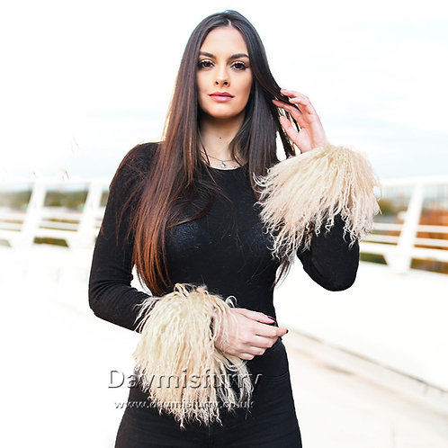 DMA47K Mongonlian Lamb Fur Slap On Cuffs / Bracelet / Wristband