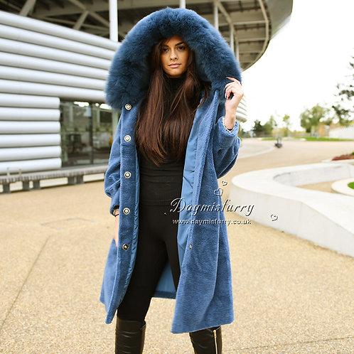 DMGT05C Shearling Coat WIth Fox Fur Trim