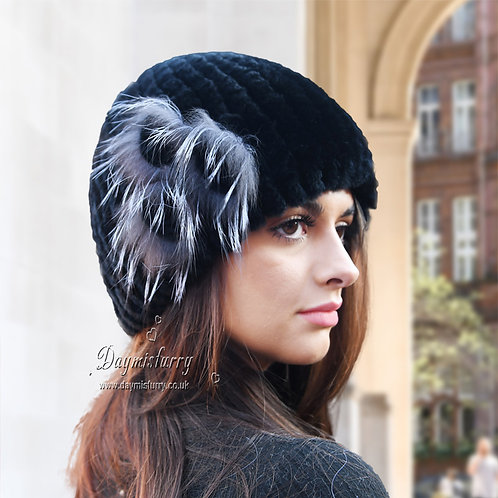 DMC184A Rex Rabbit Fur Beanie Hat /  Winter Hat