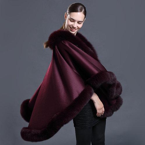 DMBP67C Pashmina Scarf Wool and Fox Fur Wrap Shawl Winter