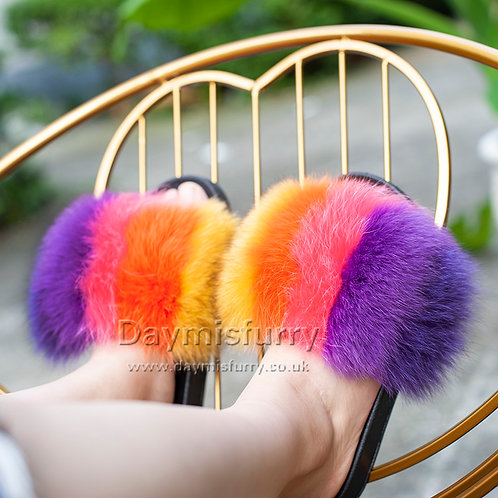 DMA100K Colorful Fox Fur Slides, Real Fur Slipper