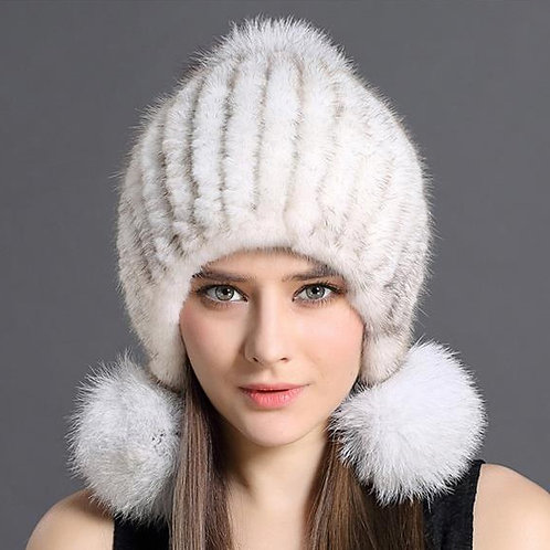 DMC131 Knit Mink Fur Beanie Hat With Fox Fur Pom