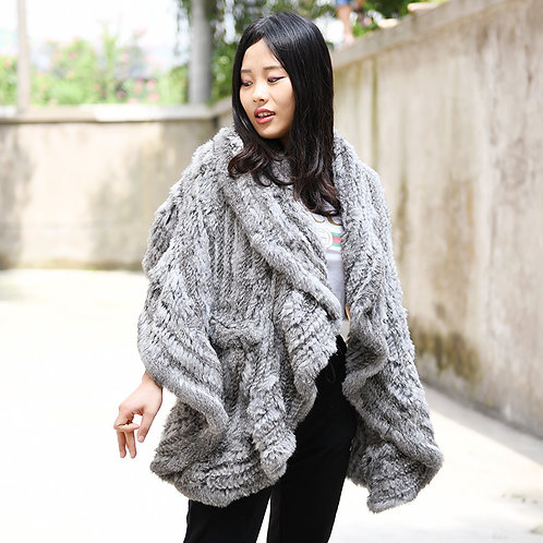 DMB83D Knit Rabbit Fur Shawl With Ruffled Edge-Grey