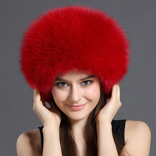 DMC77F Red Fox Fur Hat with Leather Top