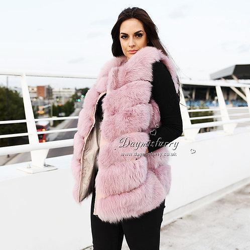 DMGB04N Fox Horizontal Design Fur Vest