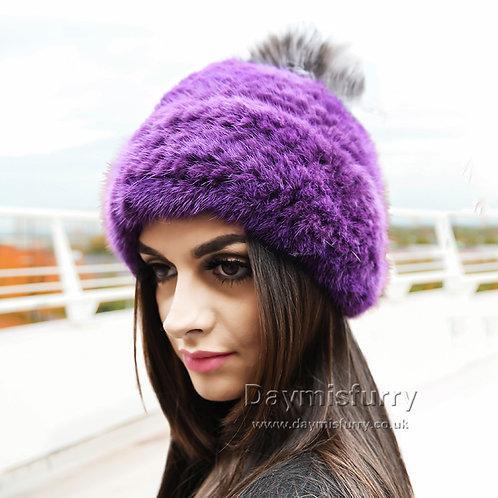 DMC239Q Knit Mink Fur Beanie Fur Pompom Hat