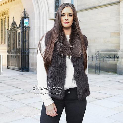 DMGB250C Knit Rabbit Fur Gilet With Raccoon Fur Collar