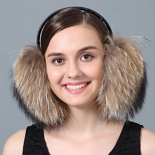 DMA73A Raccoon Fur Earmuffs With Leather Band