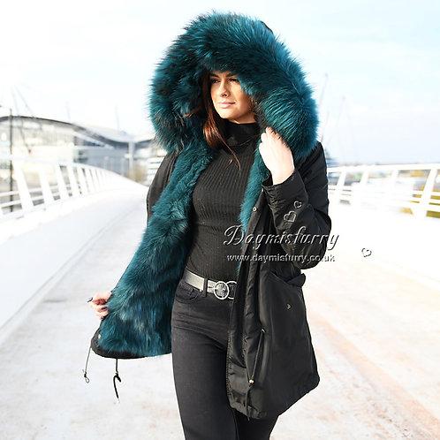 DMGP12 Fox Fur Lined Parka with Raccoon Fur Trim