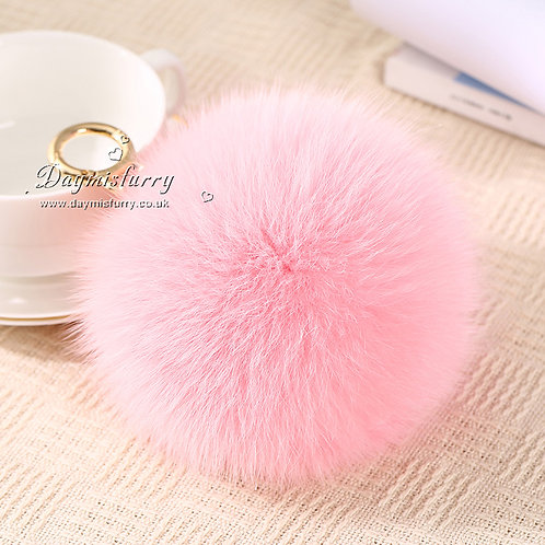 DMAR32G Fox Fur Pom Pom Pom Bag Charm / Fox Fur Ball - Pink