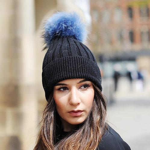 DMC50E Wool Beanie Hat With Raccoon Fur Pom Pom