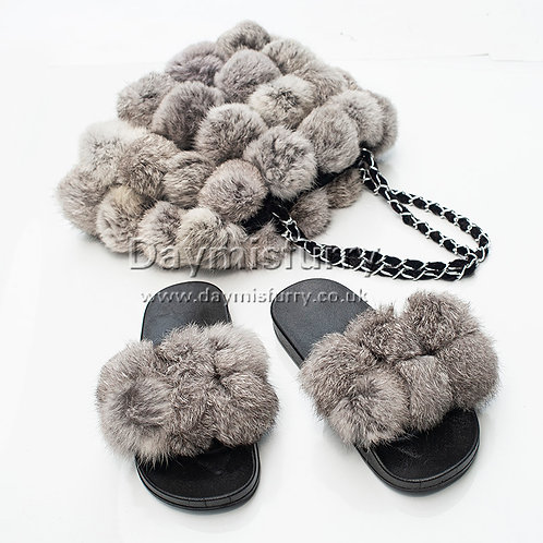 DMA118A  Rabbit Fur Pom Poms Slide & Fur Bag Set, Real Fur Bag, Real Fur Slipper