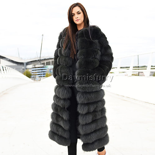 DMGA188C Extremely luxury Fox  Fur Coat - Deep Grey
