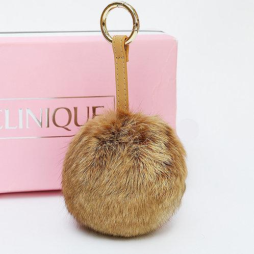 DMR49F Oversize Rabbit Fur Pom Pom Bag Charm