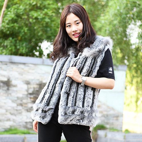 DMGB25 Rabbit Knitted Fur Gilet With Fox Fur Collar