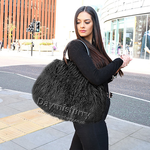 DMH24A Black Mongolia Lamb Fur Tote Bag