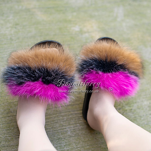 DMA100E Fox Fur Furry Mules - Desert Rose