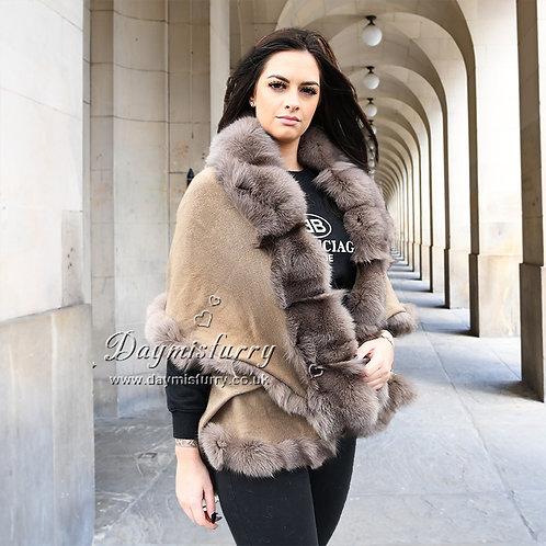 DMBP45C   Layered  Fox Fur Trim Cashmere Cape