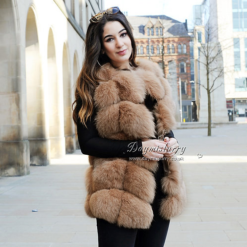 DMGB243I Finn Fox Fur  Vest - Camel