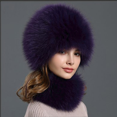 DMC01M Fox Fur Snow Hat Winter Hat Hat+Scarf Set