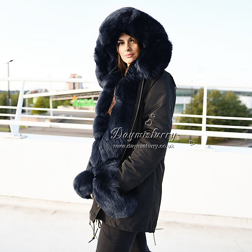 DMBP02E  Rabbit Fur Parka with Fox Fur Cuffs And Fur Hood