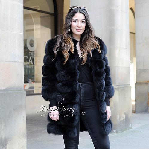 DMGA236A  Fox Horizontal Fur Coat / Winter Coat