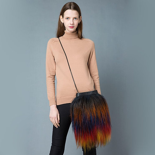 DMH07C Goat Fur Purse with Chain