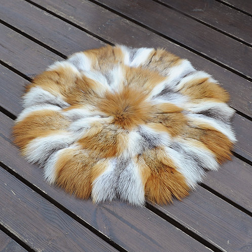 DMD35D PatchWork Red Fox Fur Cushion-17.7""
