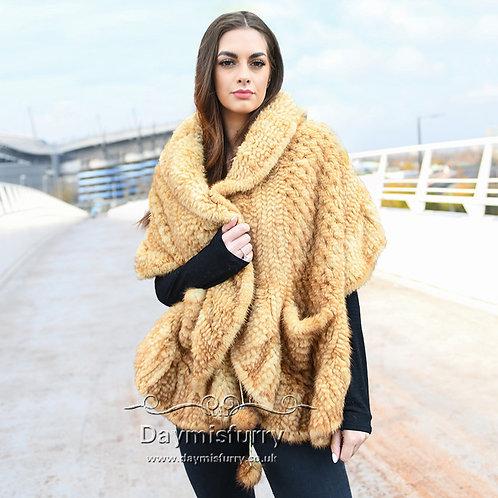 DMBM21C Ruffled Knit Mink Fur Shawl in Golden