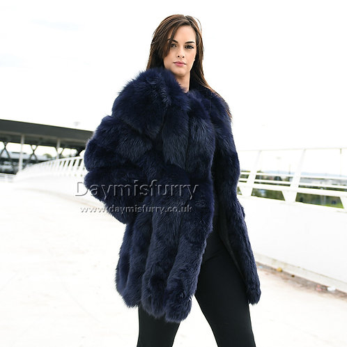 DMGA218E Luxury Vertical Stripes Fox Fur Coat in Navy