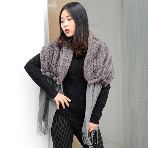DMBP59 Grey Knit MInk Fur Cashmere Cape
