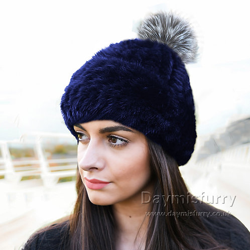 DMC239S Knit  Mink Fur Hat With Silver Fox Fur Pom