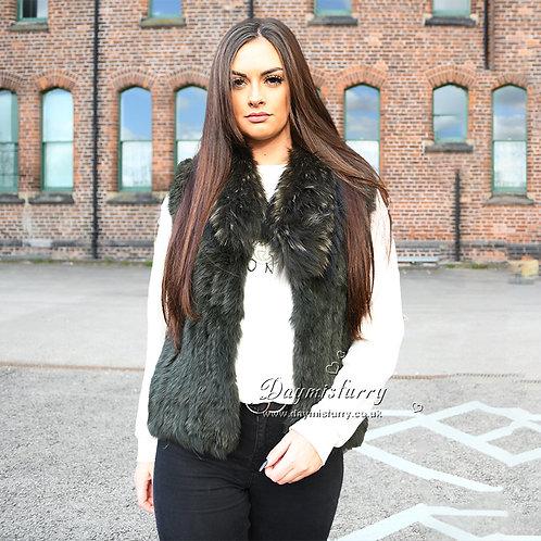 DMGB250D Knit Rabbit Fur Gilet With Raccoon Fur Collar
