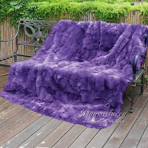 DMD123B Patchwork Fox Fur Blanket / Fur Throw