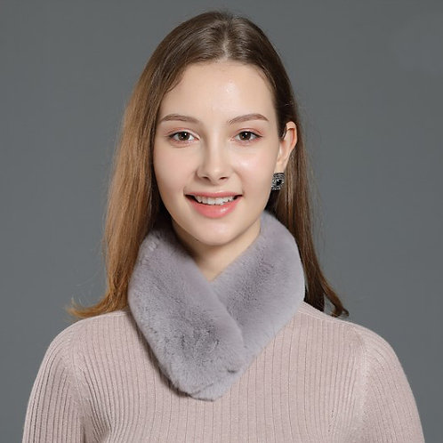 DMS04F Rex Rabbit Fur Collar Scarf