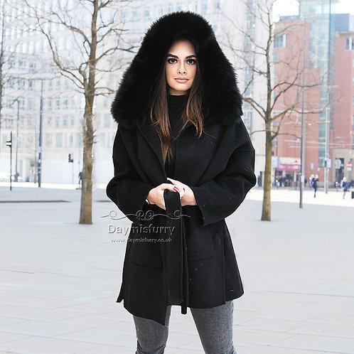 DMGT21B Cashmere Wool Jacket With Fur Trim Hood