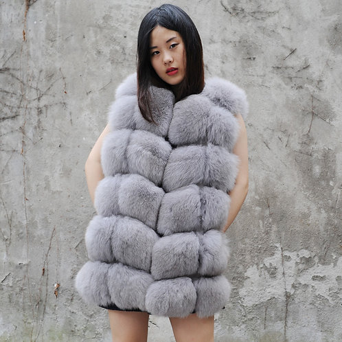 DMGB243L  Fox Fur Horizontal Design Gilet In Light Grey