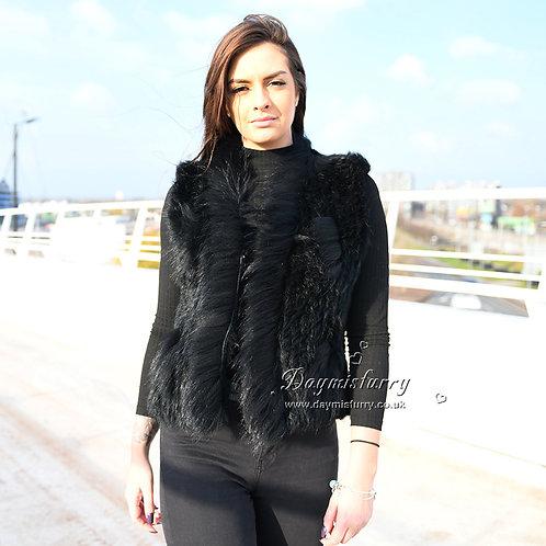 DMGB198B Rabbit Knitted Fur Vest With Raccoon Fur Trim