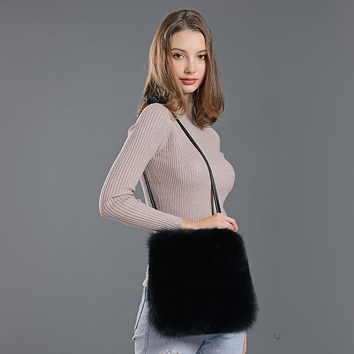 DMH10F Black Fox Fur Shoulder Bag / Handbag / handle bags
