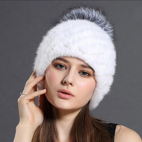 DMC206D Knit Mink Fur Beanie Hat With Silver Fox Fur Pom Pom