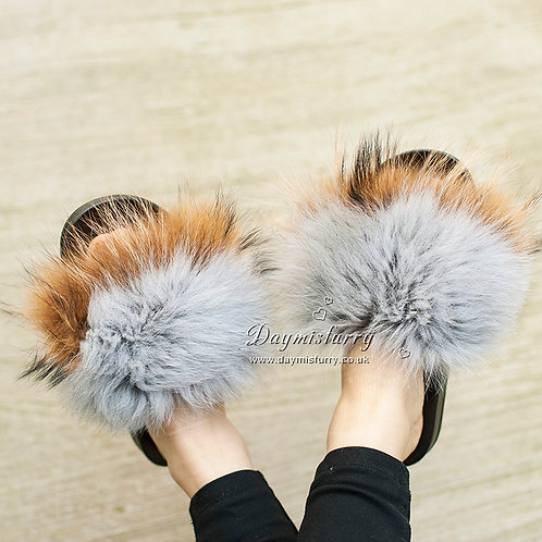 DMA82T Fox & Raccoon Fur Slippers - Autumn Sunset
