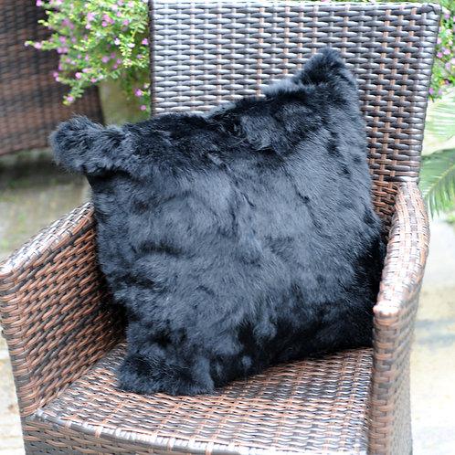 DMD17K Pieced Rabbit Fur Pillow Cover In Black