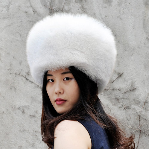 DMC169E Finn Style Blue Fox Fur Natural Pill Box Hat With Two Tails