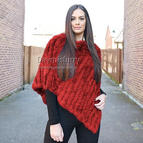 DMB13H  Knit Black Rabbit Fur Shawl / Fur Cape