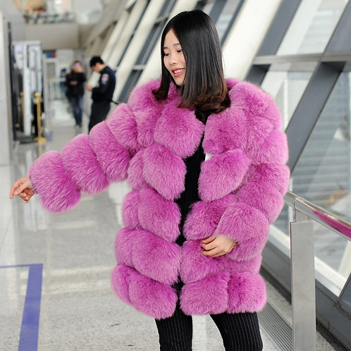 DMGA109A Extremely luxury Rose Fox Horizontal Fur Coat